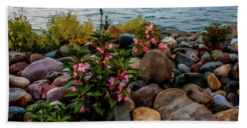 Rocky Shores Hand Towel featuring the photograph Rocky Shores Of Lake St. Clair- Michigan by Joann Copeland-Paul