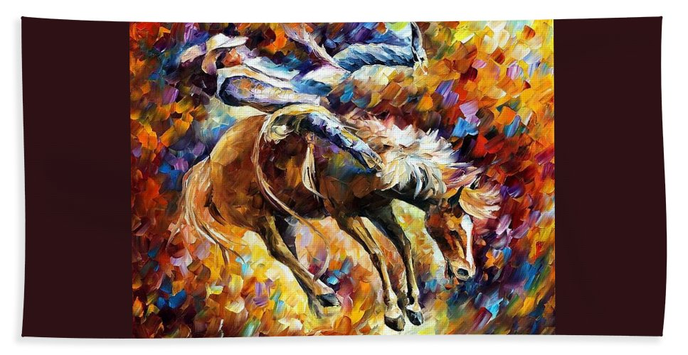 Afremov Hand Towel featuring the painting Rodeo by Leonid Afremov