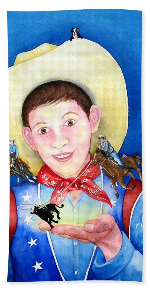 Boy Hand Towel featuring the painting Rodeo Magic by Gale Cochran-Smith