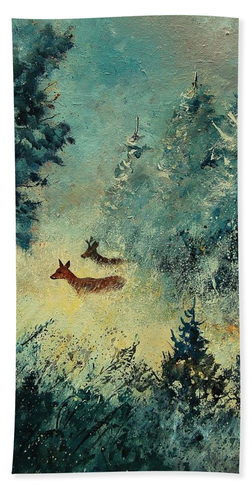 Animal Hand Towel featuring the painting Roe Deers In September Morning Light by Pol Ledent