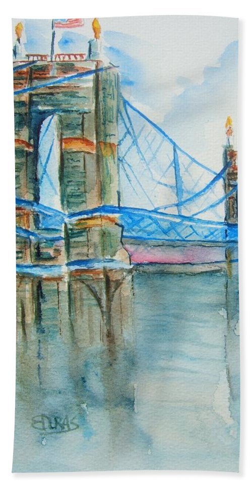 Roebling Bridge Hand Towel featuring the painting Roebling On The Ohio River by Elaine Duras