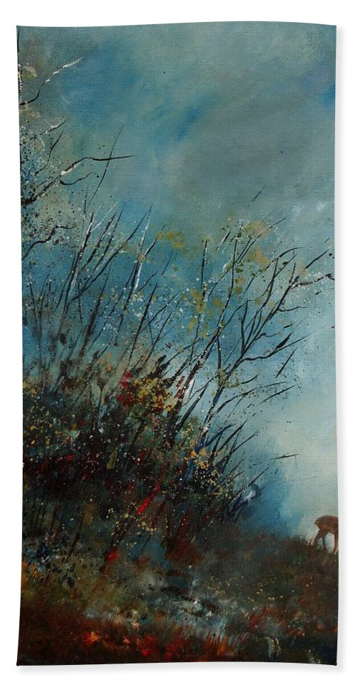 Animal Bath Sheet featuring the painting Roedeer In The Morning by Pol Ledent