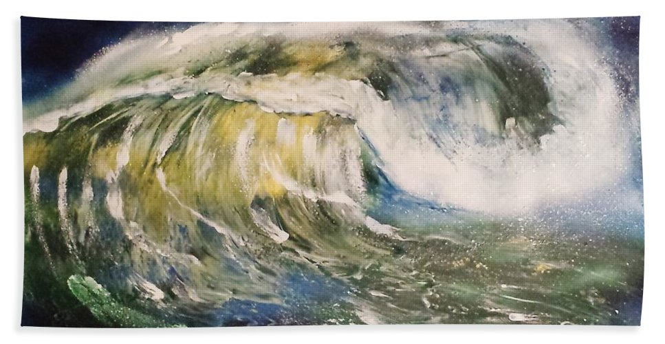 Hand Towel featuring the painting Rogue Wave by Mario Carta