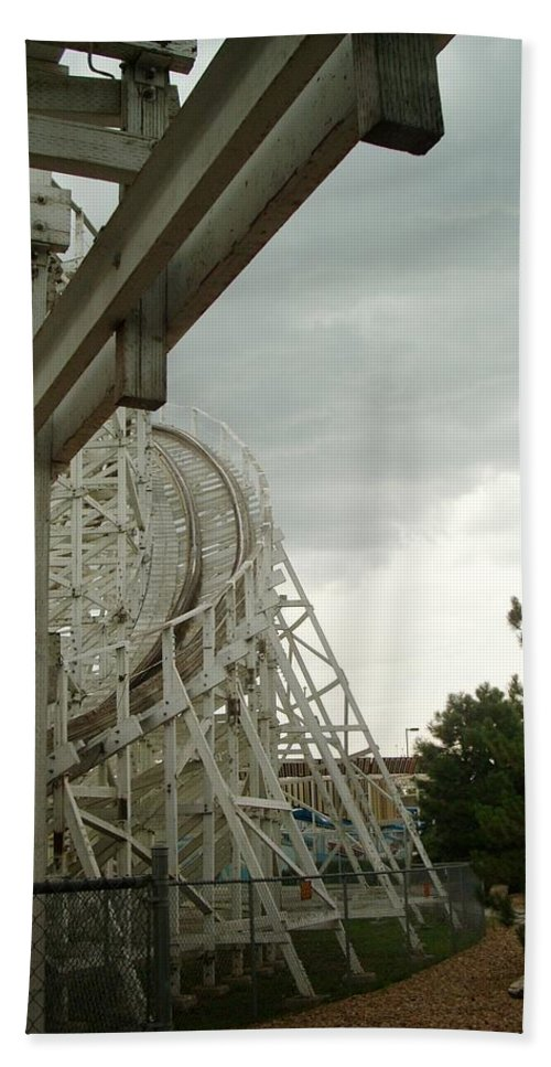 Wooden Roller Coaster Hand Towel featuring the photograph Roller Coaster 5 by Sara Stevenson
