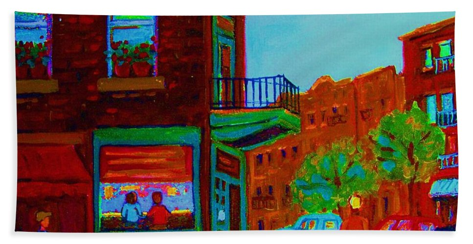Wilenskys Bath Towel featuring the painting Rollerblading Past The Cafe by Carole Spandau