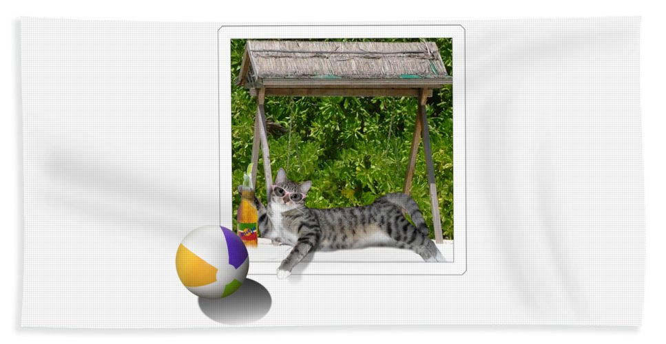 Cat Bath Sheet featuring the mixed media Rolling Beach Ball by Gravityx9 Designs