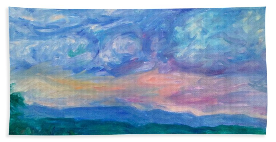Landscape Hand Towel featuring the painting Rolling Beauty Stage One by Kendall Kessler