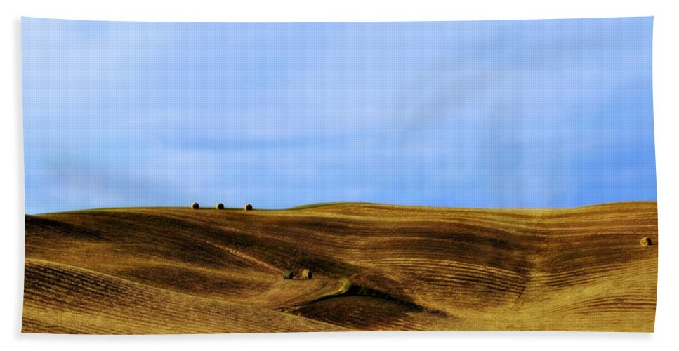 Landscape Bath Sheet featuring the photograph Rolling Hills And Bales Of Hay by Marilyn Hunt