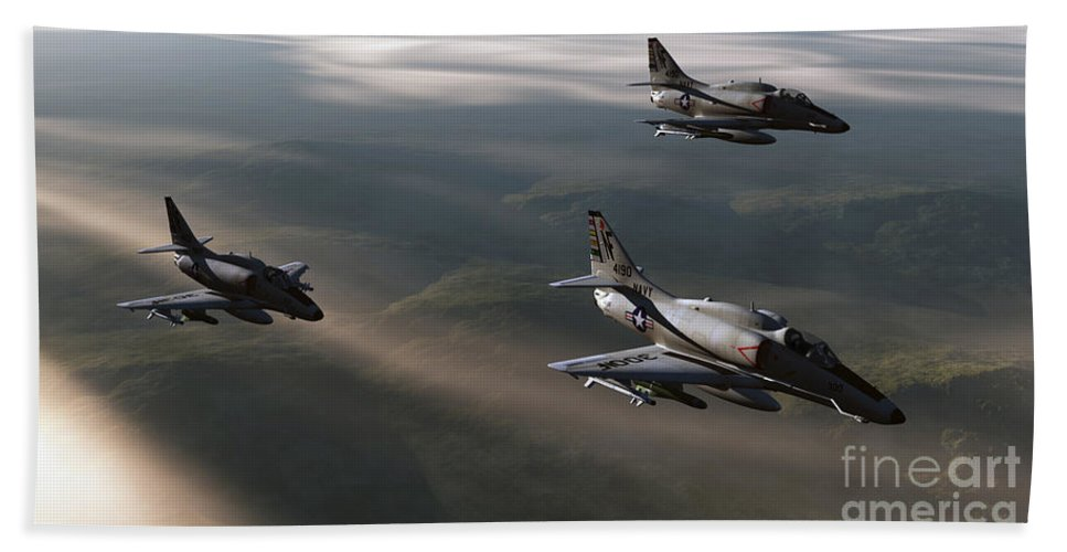 Aviation Art Bath Sheet featuring the digital art Rolling Thunder by Richard Rizzo