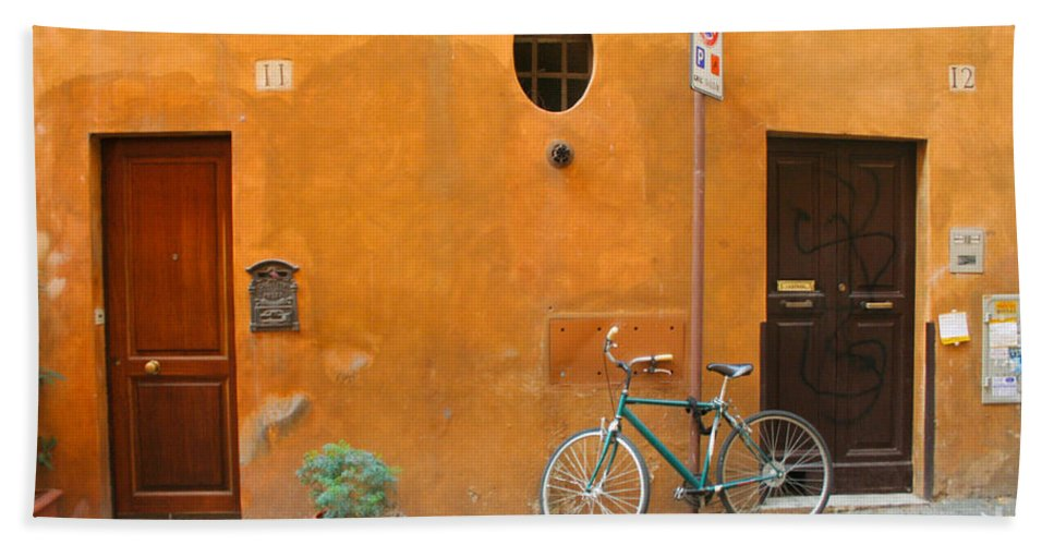 Rome Bath Towel featuring the photograph Roman Doors by Thomas Marchessault