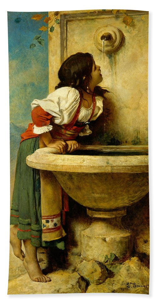 Leon Bonnat Hand Towel featuring the painting Roman Girl At A Fountain by Leon Bonnat