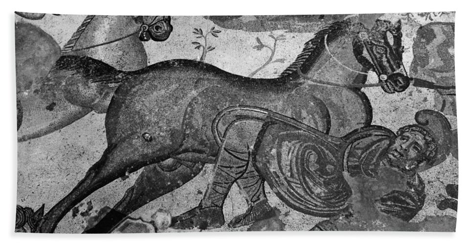 4th Century Bath Sheet featuring the photograph Roman Mosaic: Man & Horse by Granger
