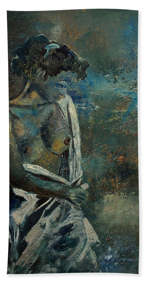 Nude Hand Towel featuring the painting Roman Nude 45 by Pol Ledent