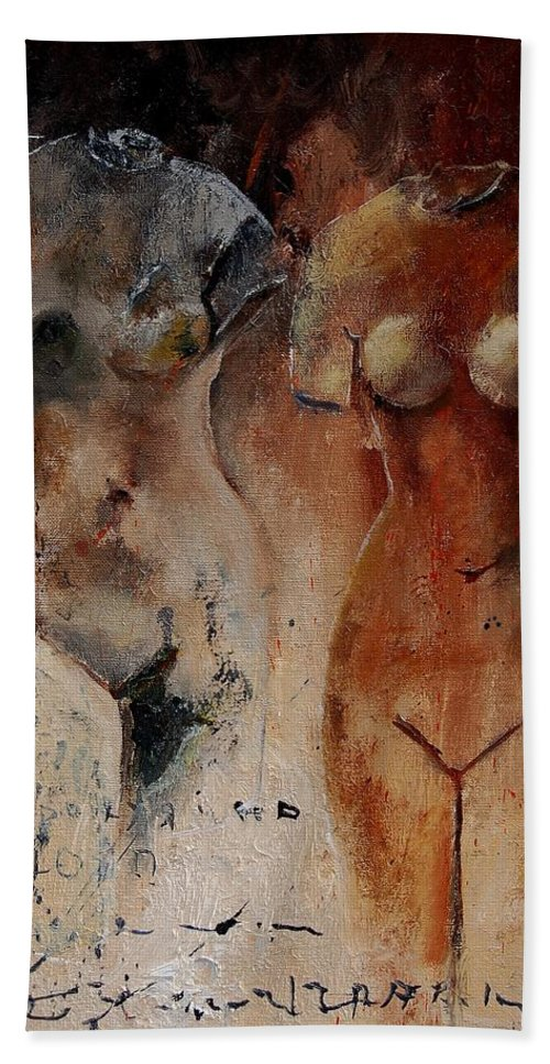 Nude Bath Towel featuring the painting Roman Nudes 45 by Pol Ledent