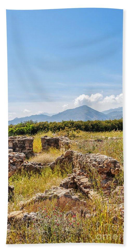 Greece Bath Sheet featuring the photograph Roman Villa Ruins On Crete by Antony McAulay