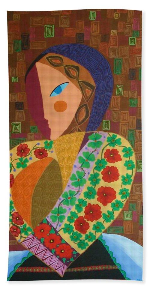 Blouse Bath Sheet featuring the painting La Blouse Roumaine by Mimi Revencu
