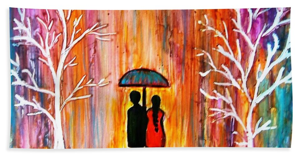 Romantic Painting Figures Romance Umbrella Rain Blue Red Orange People Trees Abstract Figures Love Valentine Purple Abstract Landscape Bath Sheet featuring the painting Romance In The Rain by Manjiri Kanvinde