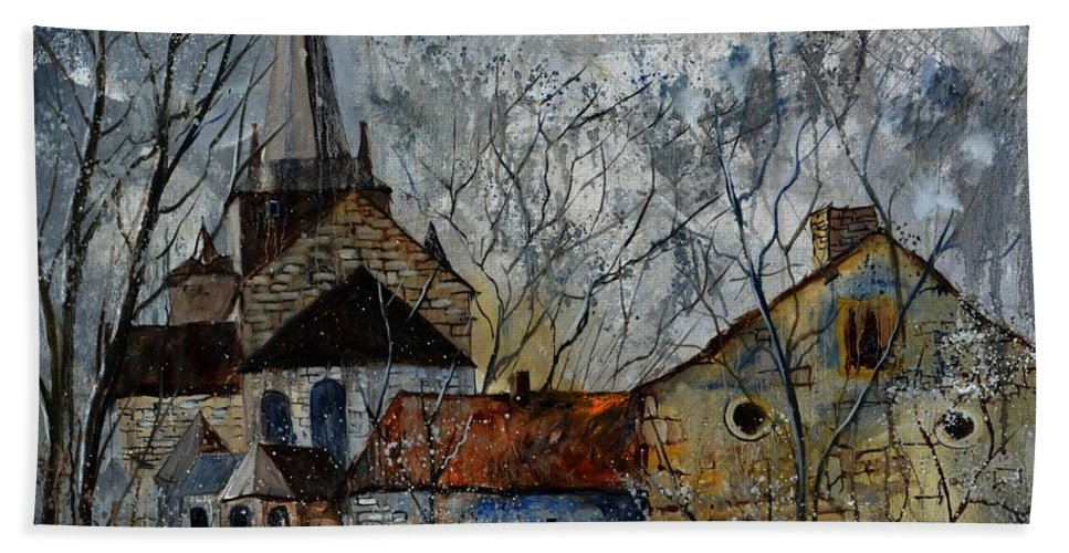 Landscape Hand Towel featuring the painting Romanesque Church by Pol Ledent