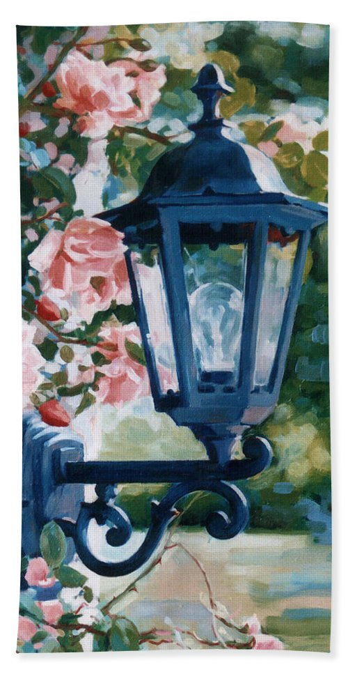 Roses Hand Towel featuring the painting Romantic Fragrance by Iliyan Bozhanov