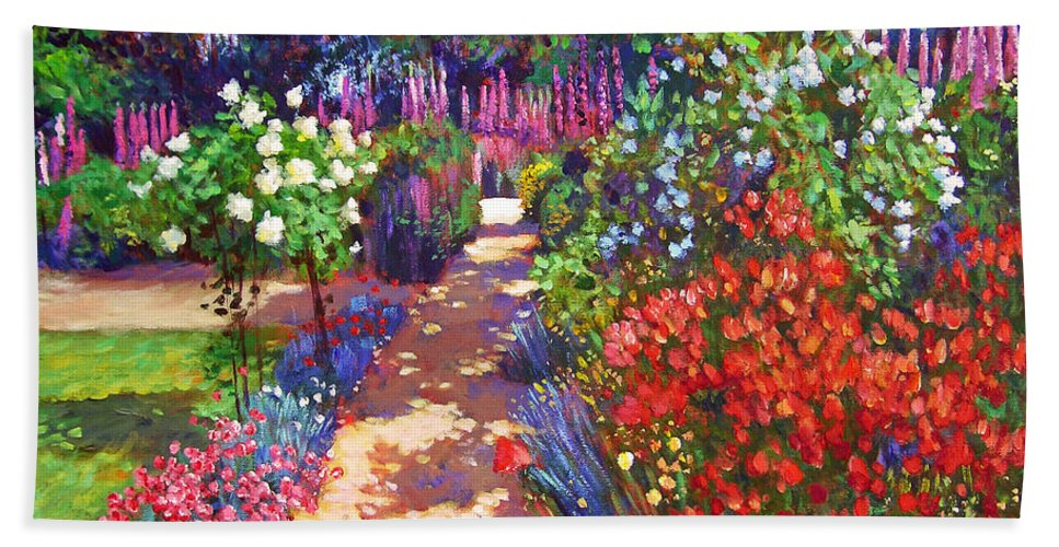 Impressionism Hand Towel featuring the painting Romantic Garden Walk by David Lloyd Glover