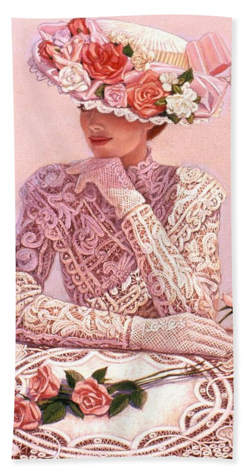 Woman Bath Towel featuring the painting Romantic Lady by Sue Halstenberg