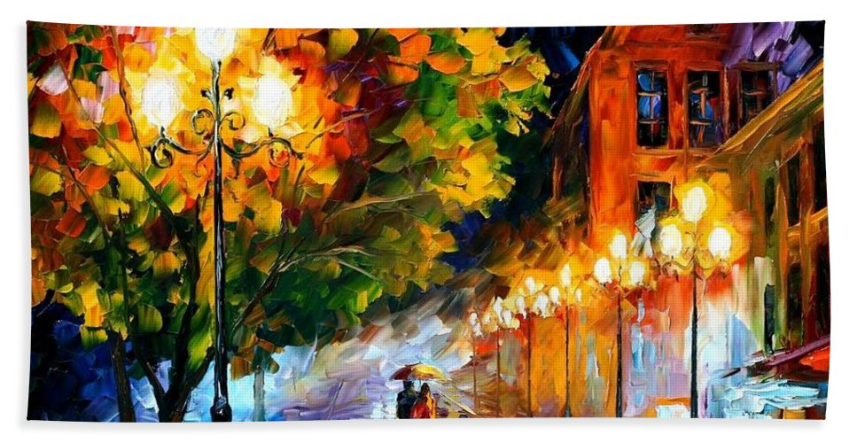 Afremov Bath Sheet featuring the painting Romantic Night by Leonid Afremov
