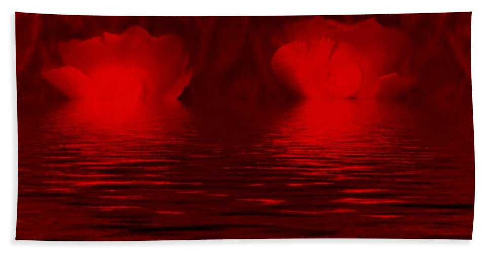 Roses Bath Sheet featuring the mixed media Romantic by Pepita Selles