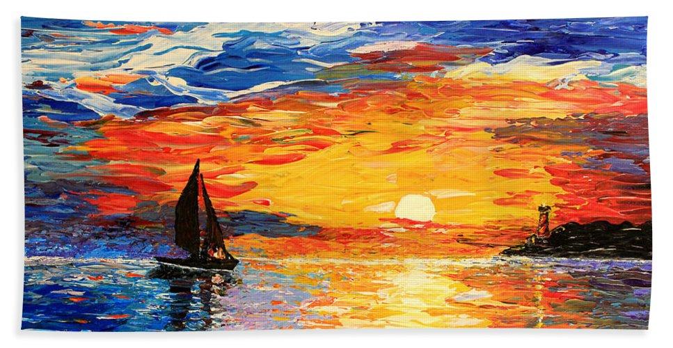 Seascape Bath Sheet featuring the painting Romantic Sea Sunset by Georgeta Blanaru