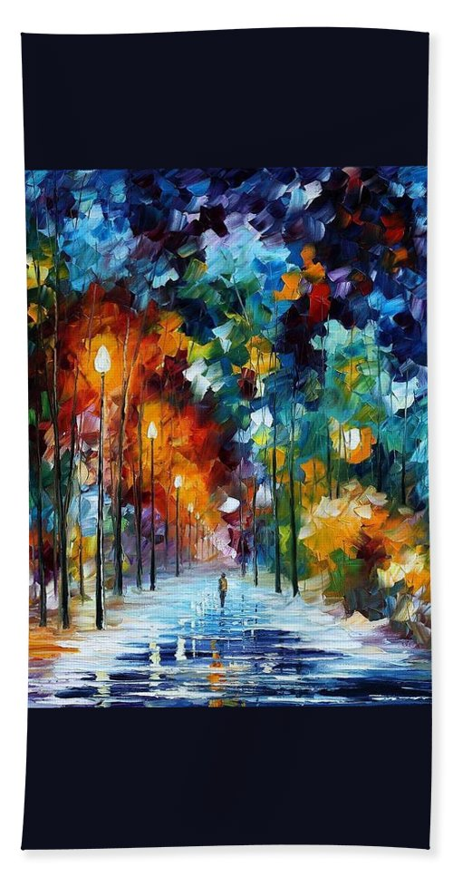 Afremov Hand Towel featuring the painting Romantic Winter by Leonid Afremov