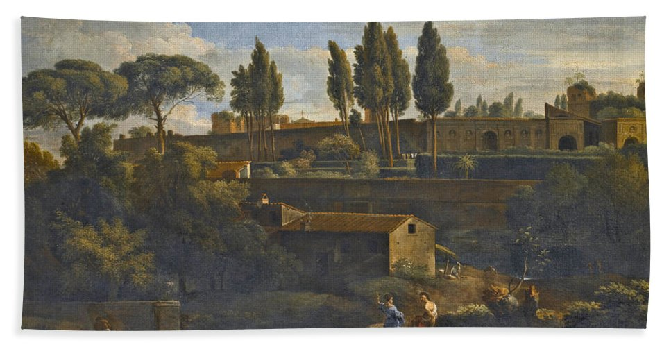 Attributed To Jan Frans Van Bloemen Bath Sheet featuring the painting Rome A Terraced Garden Probably That Of The Villa Silvestri Rivaldi by Attributed to Jan Frans van Bloemen