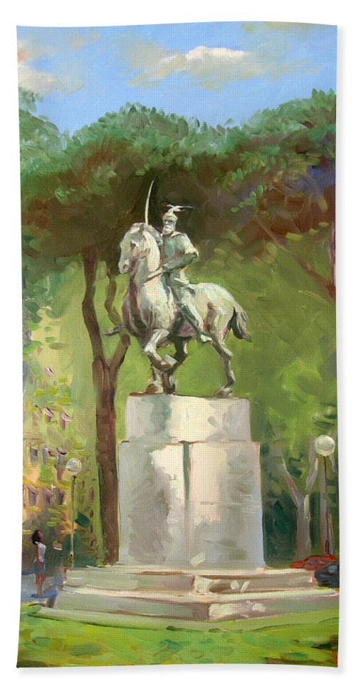 Horseman Statue Portraying The Albanian Hero Bath Sheet featuring the painting Rome Piazza Albania by Ylli Haruni