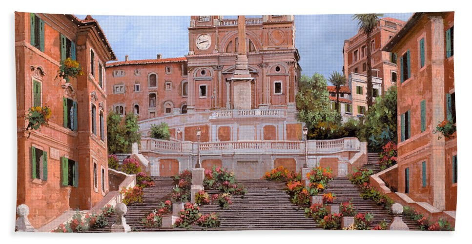 Rome Bath Sheet featuring the painting Rome-piazza Di Spagna by Guido Borelli