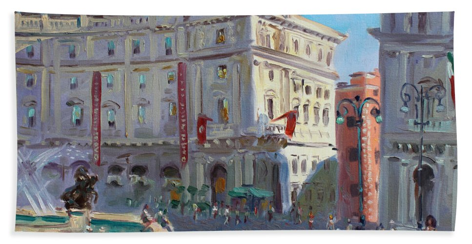 Rome Hand Towel featuring the painting Rome Piazza Republica by Ylli Haruni