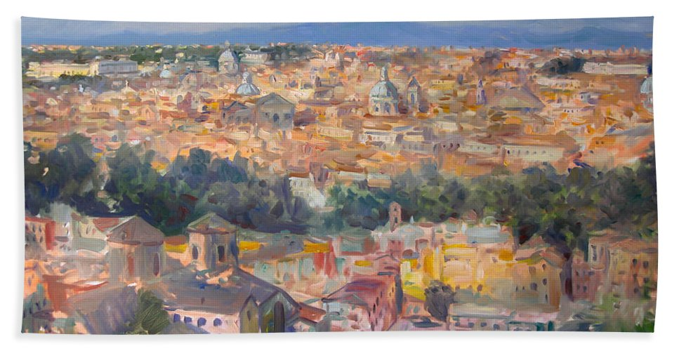Rome Hand Towel featuring the painting Rome View From Gianicolo by Ylli Haruni