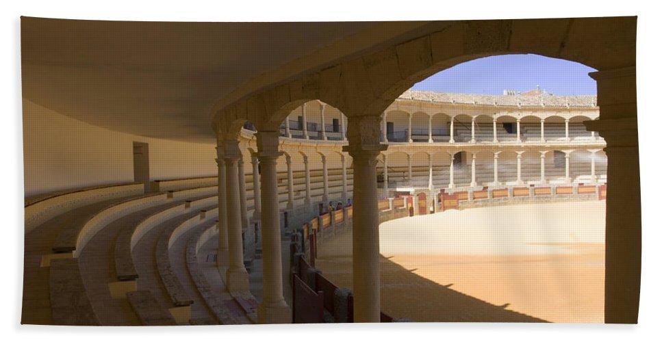 Bullfight Bath Towel featuring the photograph Ronda Bullring The Real Maestranza De Caballeria by Mal Bray