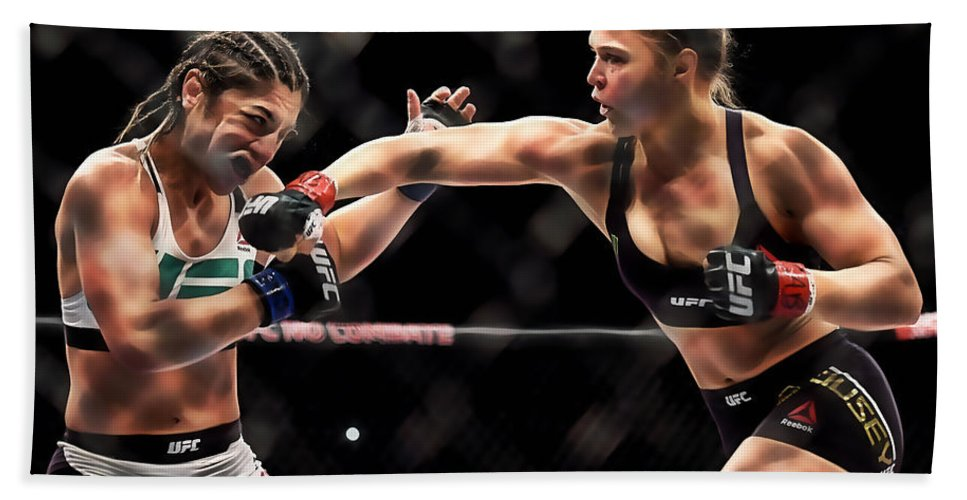 Ronda Rousey Hand Towel featuring the mixed media Ronda Jean Rousey by Marvin Blaine
