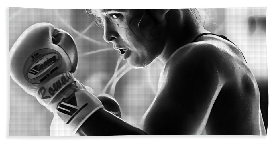 Ronda Rousey Hand Towel featuring the mixed media Ronda Rousey Fighter by Marvin Blaine