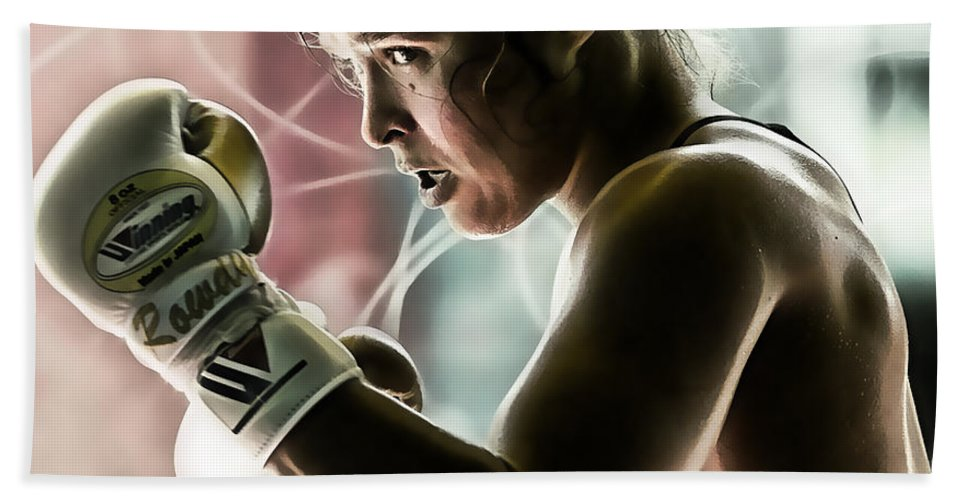Ronda Rousey Hand Towel featuring the mixed media Ronda Rousey Mma by Marvin Blaine