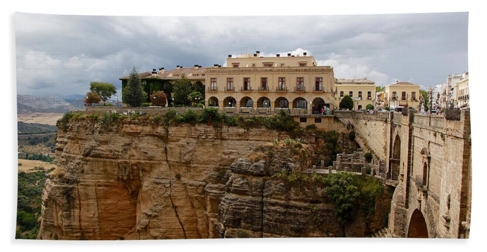 Landscape Bath Sheet featuring the photograph Ronda Spain- The Puente Nuevo by Kenneth Lempert