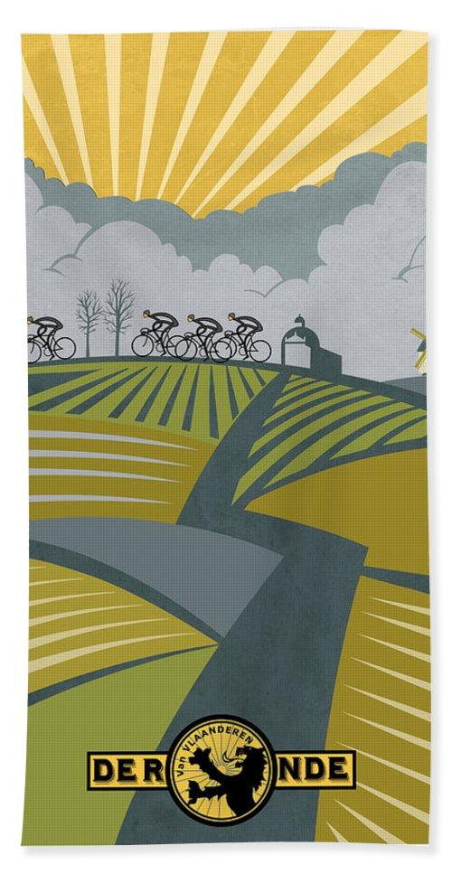 Cycling Hand Towel featuring the painting Ronder Van Vlaanderen by Sassan Filsoof
