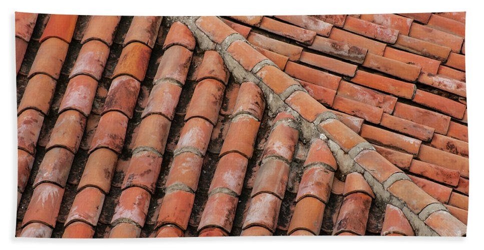 Red Roof Tiles Hand Towel featuring the photograph Roof Tiles And Mortar by Bob Phillips