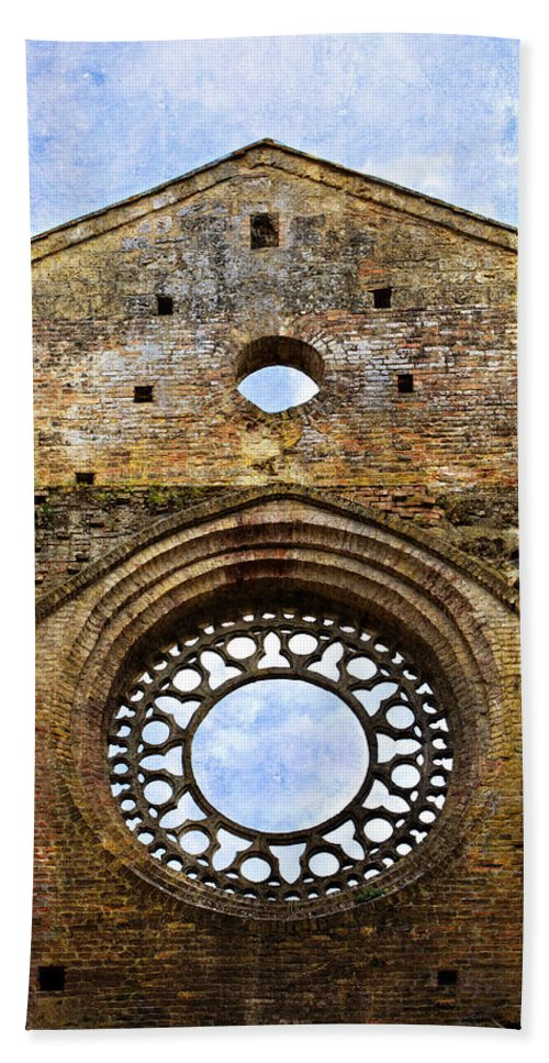 Roofless Hand Towel featuring the photograph Roofless Church Abbazia Di San Galgano by Marilyn Hunt