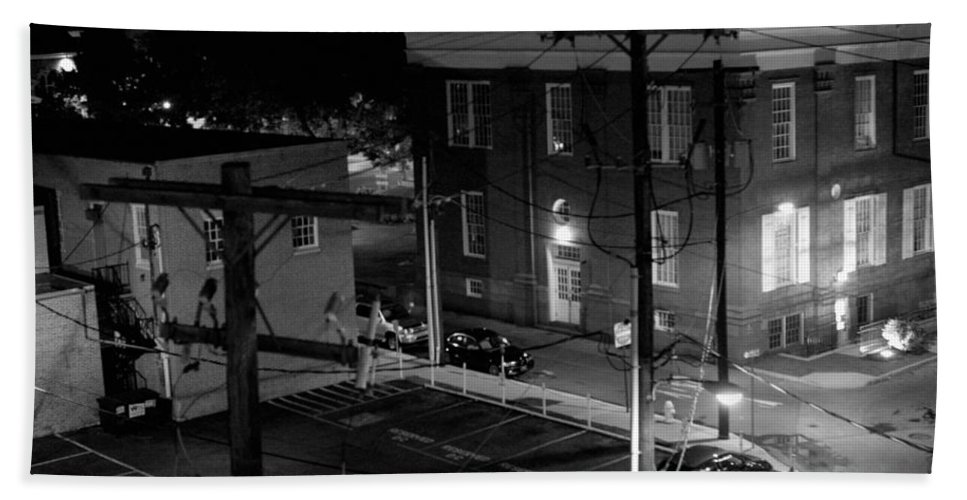 Black White Hand Towel featuring the photograph Rooftop Court by Jean Macaluso
