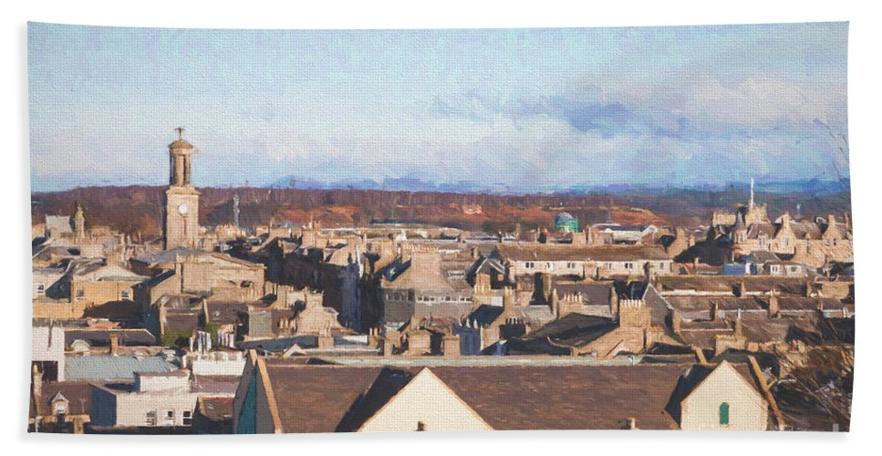 Rooftop Hand Towel featuring the photograph Rooftops Of Elgin by Diane Macdonald