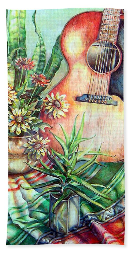 Guitar Hand Towel featuring the drawing Room For Guitar by Linda Shackelford