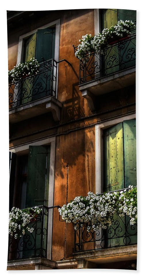 Venice Hand Towel featuring the photograph Rooms With A View by Lois Bryan