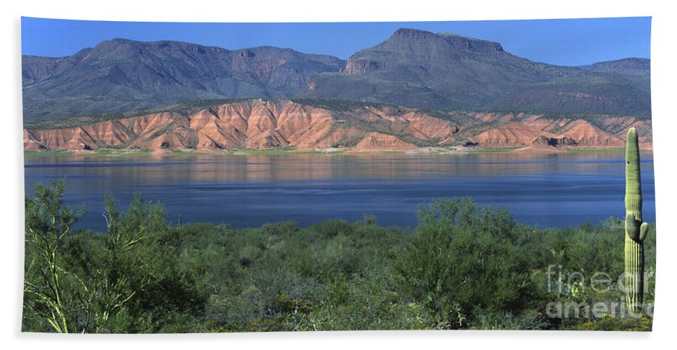 Roosevelt Lake Hand Towel featuring the photograph Roosevelt Lake - Panoramic by Sandra Bronstein