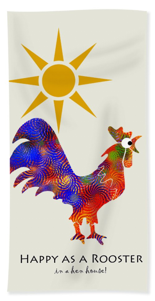 Rooster Bath Towel featuring the mixed media Rooster Pattern Art by Christina Rollo