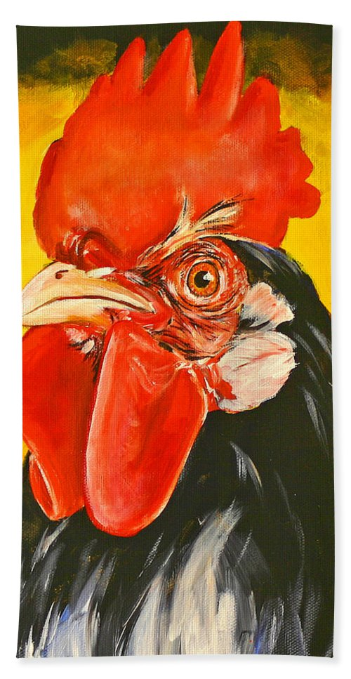 Rooster Bath Sheet featuring the painting Rooster by Toni Grote