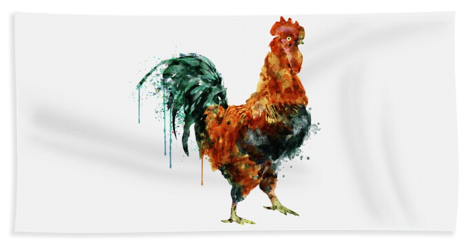 Rooster Watercolor Painting Bath Towel For Sale By Marian Voicu